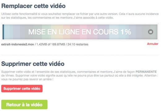 remplacer vimeo