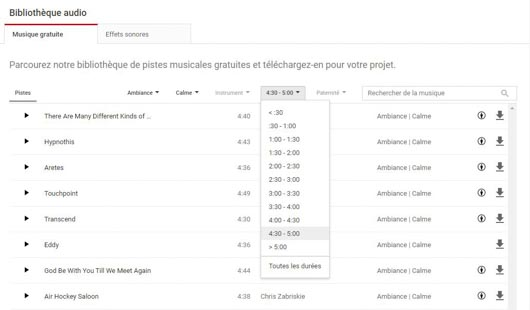 audio filtre Youtube