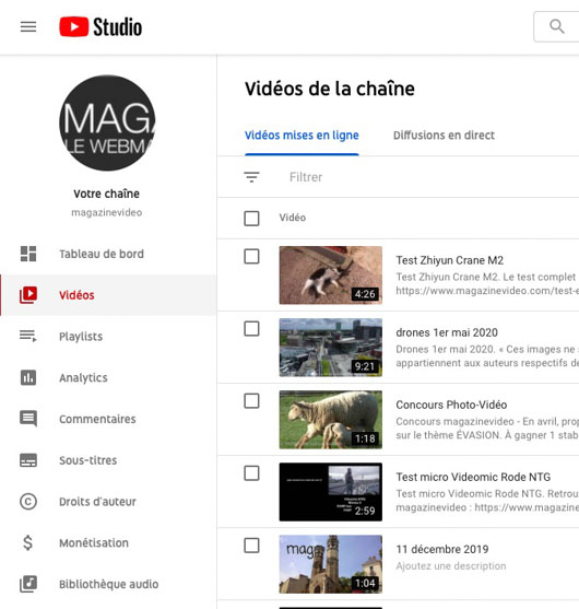 liste audio YouTube