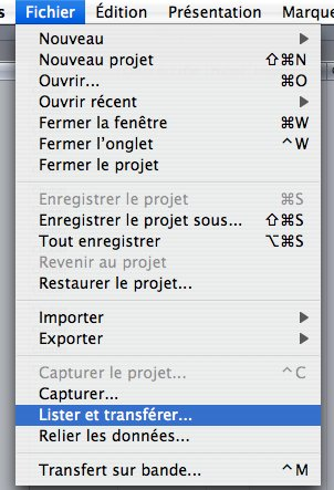 Final Cut Express 4 lister et transf�rer
