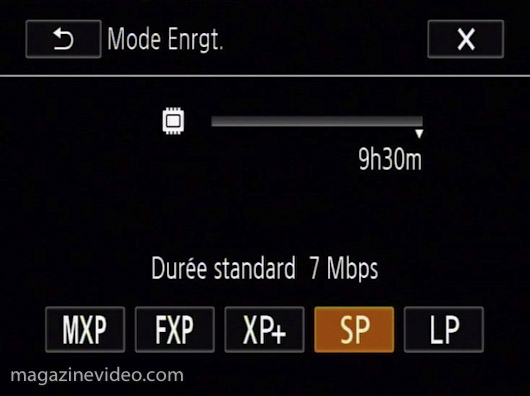 HF G10 modes enregistrement