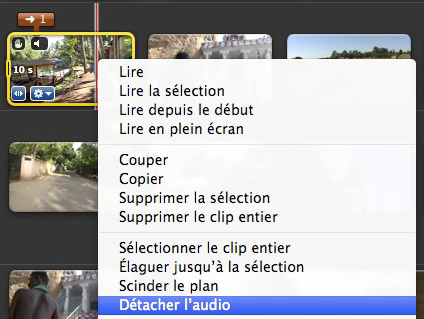 iMovie 09 détacher audio