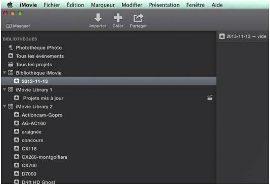 imovie 10 bibliotheques